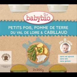 Pot petits pois pomme de terre du Val de Loire cabillaud BABYBIO, dès 8 mois, 2x200g