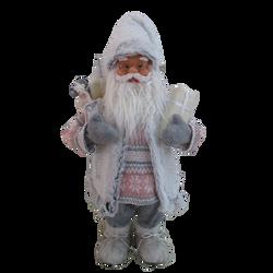 Père noël en polyester et en plastique 60cm blanc/rose