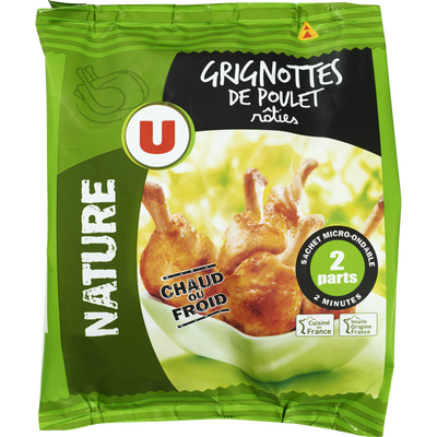 Grignotte de poulet rôtie nature, U, France, Sachet, 250g