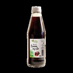Jus de pomme myrtille bio SOURCE DU VERGER, bouteille 33cl