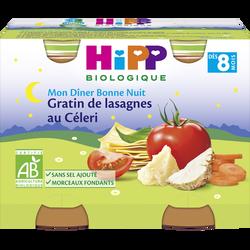 Petit pot bio pour bébé gratin de lasagnes au céléri, HIPP, dès 8 mois, pot de 2, 190g