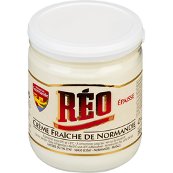 Crème fraîche épaisse de Normandie 42% de matière grasse REO, pot en verre de 40cl