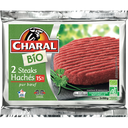 Steak haché, 12% MAT.GR., BIO, CHARAL, France, 2 pièces, 200g
