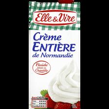 Crème UHT entière de Normandie ELLE & VIRE, 30% de MG, brique de 1 litre