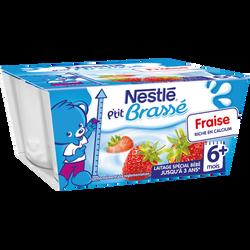 P'tit brassé fraise lactées dès 6 mois NESTLE, 4 coupelles de 100g