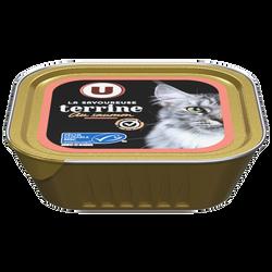 Les terrines pour chat riche en truite et saumon U, barquette de 100g