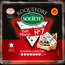 Roquefort AOP lait cru brebis petit plaisir n°7, 31,7% de MG, SOCIETE,100g