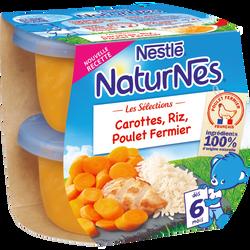 Riz carottes poulet fermier dès 6mois, NATURNES, 2 bols de 200g