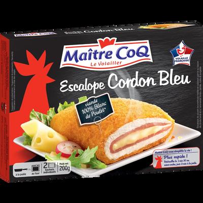 Escalope cordon bleu poulet MAITRE COQ, 2 étuis de 200g