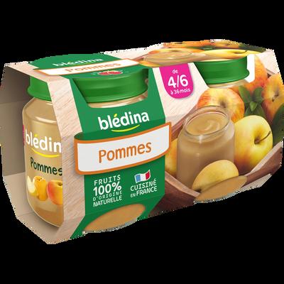 Pot pour bébé aux fruits, pomme golden BLEDINA, dès 4-6 mois, 2x130g