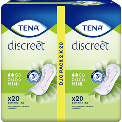 Serviettes pour incontinence discreet mini duo pack TENA Lady 2x20