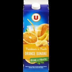 Fraîcheur de fruits orange et banane riche en fruits U, brique de  2L