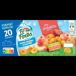 POM'POTES sans sucre ajouté pomme, pomme mirabelle, pomme abricot, pomme pêche blanche 20x90g format familial