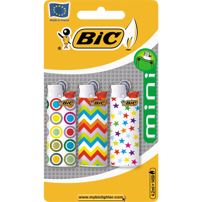 Briquets mini décor J25 multipack sous blister BIC, x3