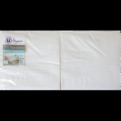Serviette papier U, 33x32 cm, blanche, pack de 200