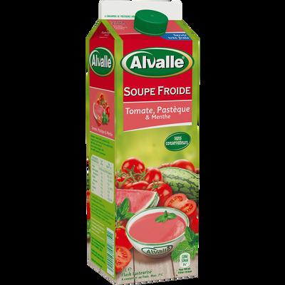 Soupe froide de tomate, pastèque et menthe ALVALLE, brique de 1 litre