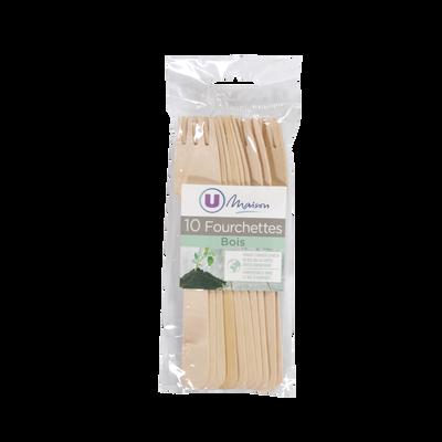 Fourchettes U MAISON, en bois, 10 unités