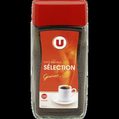 Café soluble aggloméré Sélection U, paquet de 200g