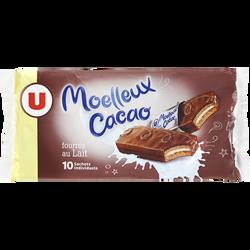 Gateaux moëlleux au cacao fourré au lait U, 10 unités de 420g