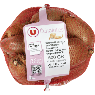 Echalote traditionnelle longue, U, calibre 30/50, catégorie 1, France,Filet 500g
