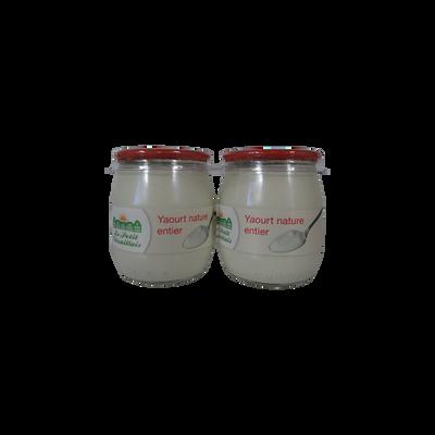 Yaourt nature au lait entier LE PETIT VERSAILLAIS, pot en verre 2x125g