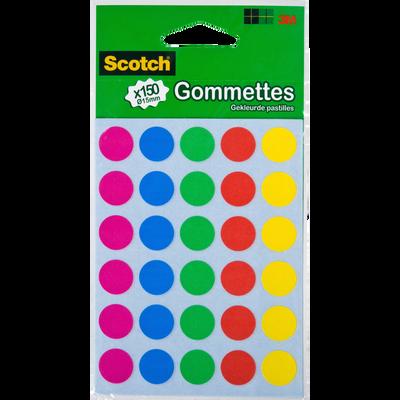 Gommette SCOTCH, diamètre 15mm, 150 unités, coloris assortis