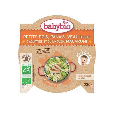Ass Petits pois Panais Veau Macaroni BABYBIO dès 12 mois 230g