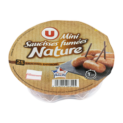 Mini saucisses fumées nature supérieures cuites U, 175g