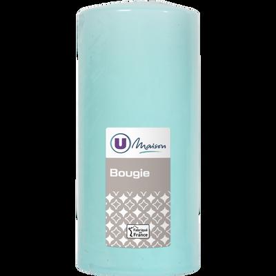 Bougie U MAISON, non parfumée, 68x145mm, vert d'eau