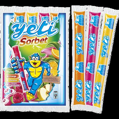 Sucettes à l'eau parfum sorbets aux fruits 40%, YETIGEL, x12,580g