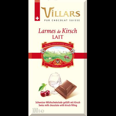 """Chocolat au lait à la liqueur de cerise """"Larmes de Kirsh"""", VILLARS, tablette de 100g"""