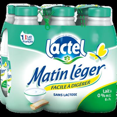 Lait UHT teneur réduite lactose écrémé MATIN LEGER, bouteille 6x1 litre
