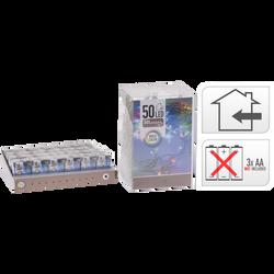 Guirlande lumineuse intérieure 50 leds multicouleurs-partie lumineuse2m-led 3mm-fil conducteur 30cm-distance entre led 10cm-fonctionne avec3 piles aa non incluses