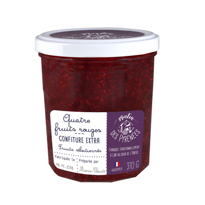 Confiture extra 4 fruits rouges MATIN DES PYRENEES, 370g