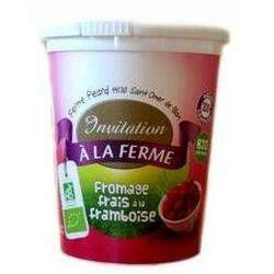 Fromage frais bio fermier aux fruits 40%MG, Framboise, Local Invitation à la Ferme Péard, 500g.