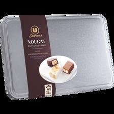 Assortiments de Nougat de Montélimar : nature, enrobés de chocolat noir, chocolat au lait aromatisé à l'orange U SAVEURS, boîte en métal de280g