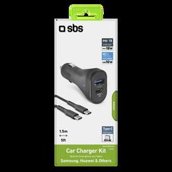 Chargeur voiture SBS usb c+câble type c 1,5m