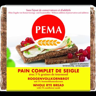 Pain complet de siegle avec 5% graines de tournesol PEMA, 500g