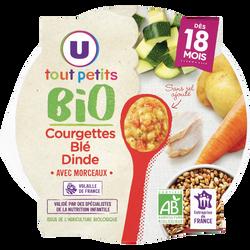 Assiette de courgette blé et dinde bio Tout Petits Bio U dès 18 mois,260g