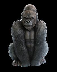Gorille assis en polyrésine 32x28,5x46cm noir boîte avec étiquette couleur