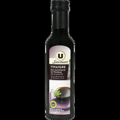 Vinaigre balsamique U SAVEURS, bouteille de 25cl