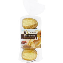 Mini gâche pur beurre à la crème fraîche saveurs U, 8 pièces soit  360g