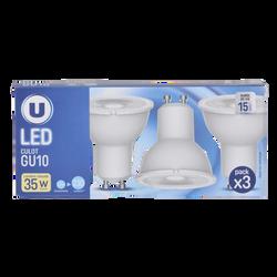 Led U, Spot, 35w, GU10, plastique, lumière chaude, 3 unités