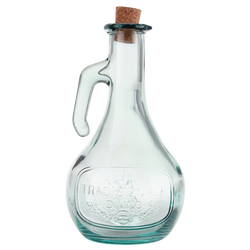 Huilier en verre recyclé 50 cl avec bec verseur métal- inscription olive