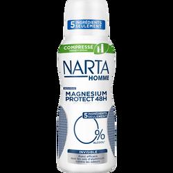 Déodorant homme compressé magnésium protect 0% invisible NARTA, atomiseur de 100ml