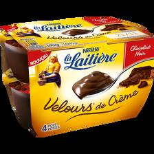 Crème dessert au chocolat noir Velours de crème LA LAITIERE, 4x85g