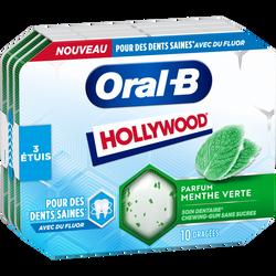 Chewing-gum oral b menthe verte sans sucres HOLLYWOOD, 3 boîtes de 17g