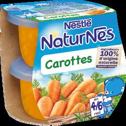 Petits pots bébé carottes NATURNES, dès 4-6 mois, 2x130g