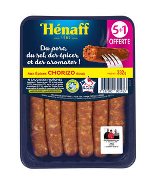 Henaff Saucisse Chorizo, Henaff, France, 5 Pièces + 1 Offerte, Barquette 332g