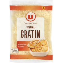 Mélange de fromages râpés pasteurisé spécial gratin U, 31%MG, 150g
